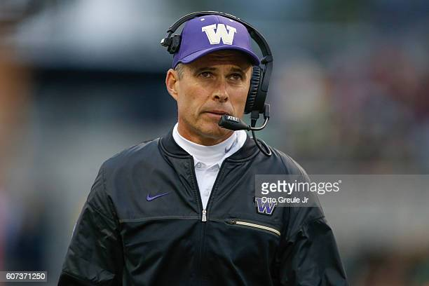 Head coach Chris Petersen of the Washington Huskies looks on during the game against the Portland State Vikings on September 17 2016 at Husky Stadium...