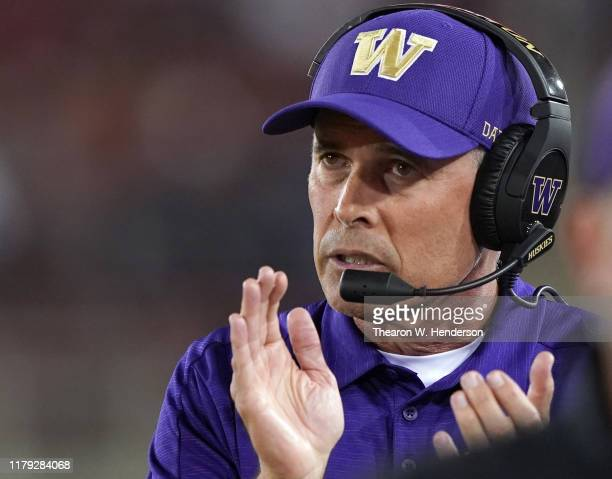 Head coach Chris Petersen of the Washington Huskies looks on from the sidelines against the Stanford Cardinal during the second quarter of an NCAA...
