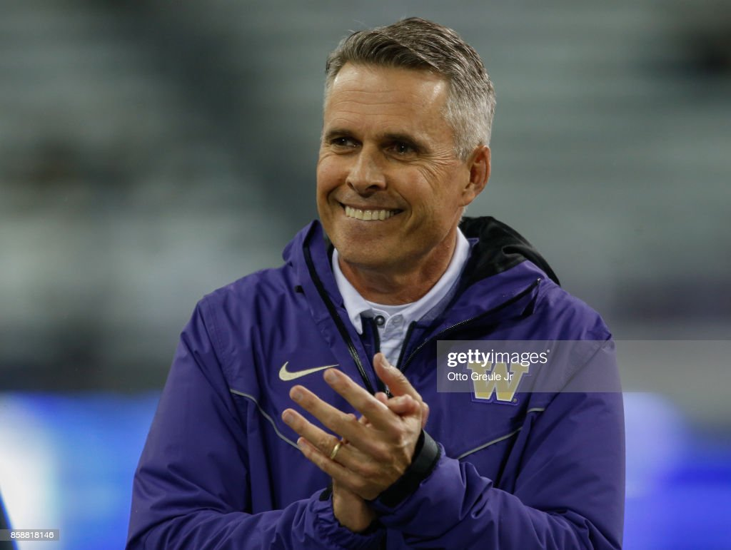 Head coach Chris Petersen of the Washington Huskies looks on prior to the game against the California Golden Bears at Husky Stadium on October 7, 2017 in Seattle, Washington.
