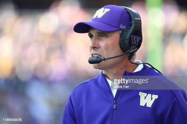 Head Coach Chris Petersen of the Washington Huskies reacts against the Utah Utes in the first quarter during their game at Husky Stadium on November...