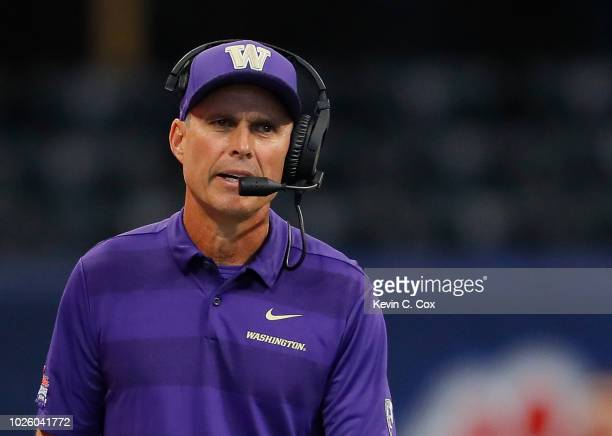 Head coach Chris Petersen of the Washington Huskies reacts during the game against the Auburn Tigers at MercedesBenz Stadium on September 1 2018 in...