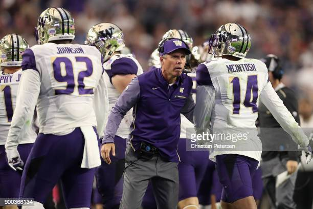Head coach Chris Petersen of the Washington Huskies reacts during the second half of the Playstation Fiesta Bowl against the Penn State Nittany Lions...