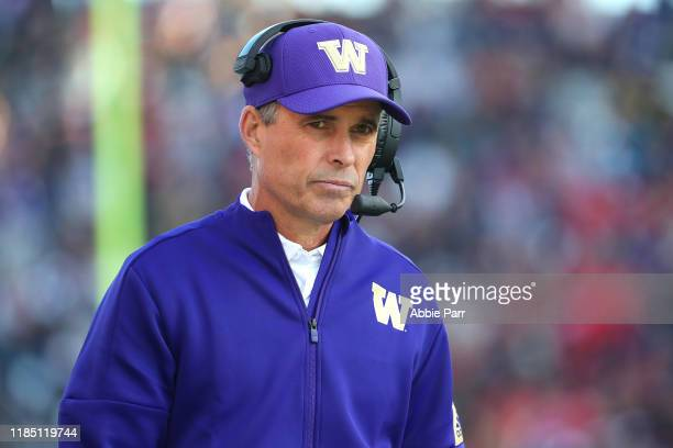 Head Coach Chris Petersen of the Washington Huskies reacts in the fourth quarter against the Utah Utes during their game at Husky Stadium on November...
