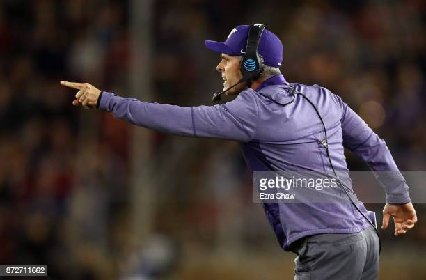 Head coach Chris Petersen of the Washington Huskies shouts to his team during their game against the Stanford Cardinal at Stanford Stadium on...