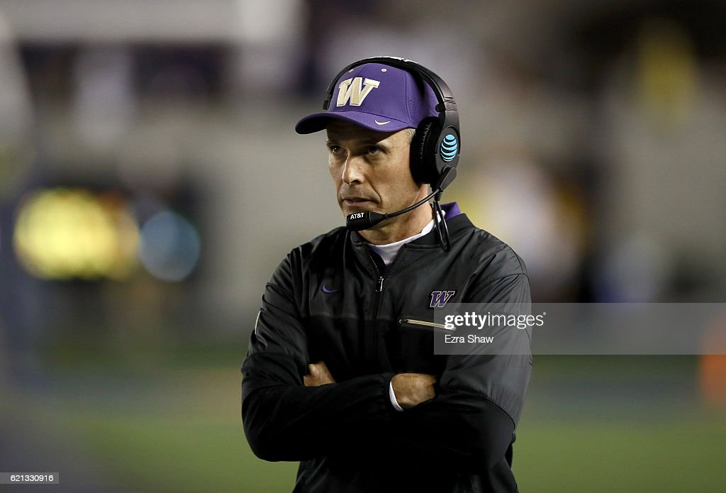 Head coach Chris Petersen of the Washington Huskies walks the sidelines during their game against the California Golden Bears at California Memorial Stadium on November 5, 2016 in Berkeley, California.