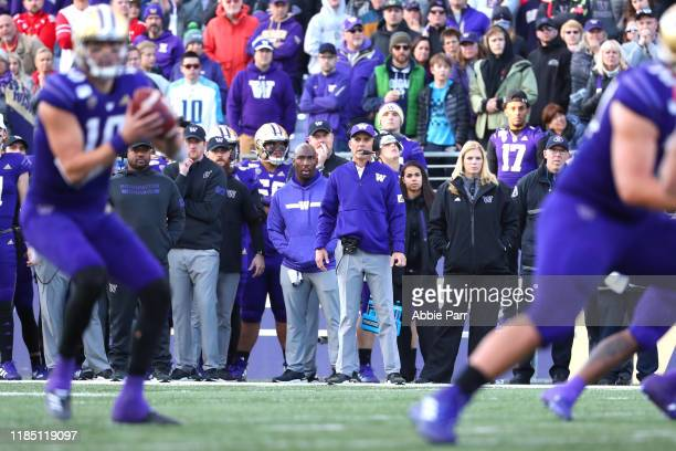 Head Coach Chris Petersen of the Washington Huskies watches play in the fourth quarter against the Washington Huskies during their game at Husky...