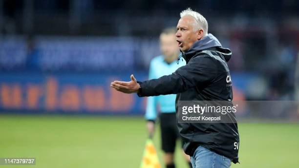 Head coach Christian Neidhardt of Meppen reacts during the 3. Liga match between SC Fortuna Koeln and SV Meppen at Suedstadion on May 06, 2019 in...