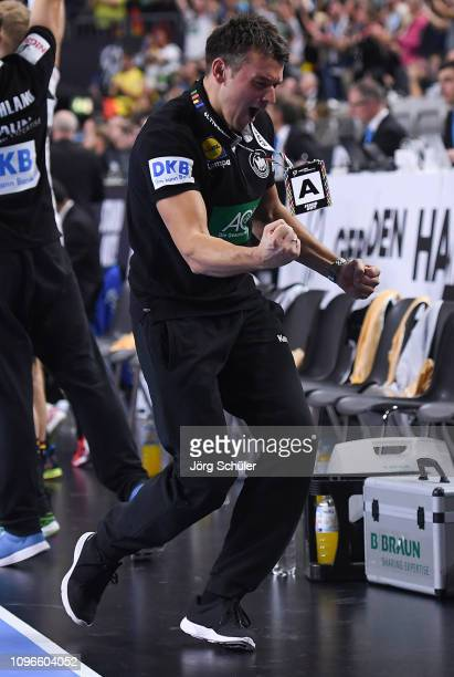 Head coach Christian Prokop of Germany celebrates during the 26th IHF Men's World Championship group 1 match between Germany and Iceland at Lanxess...