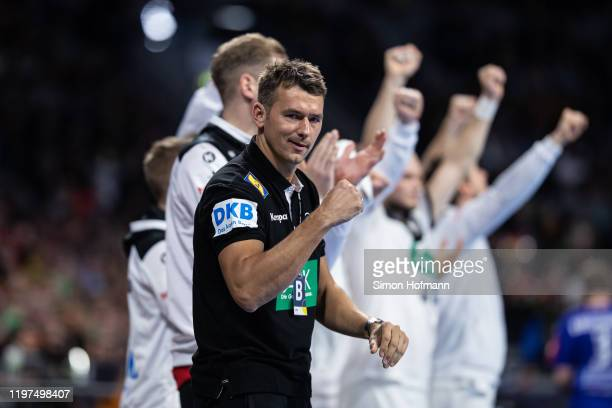 Head coach Christian Prokop of Germany celebrates during the international Handball friendly match between Germany and Iceland on January 04 2020 in...