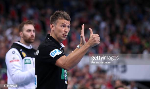 Head coach Christian Prokop of Germany gestures during the friendly match as part of the 'Tag des Handballs' between Germany and Croatia at TUI Arena...