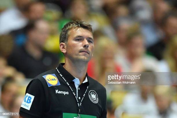 Head coach Christian Prokop of Germany looks on during the handball International friendly between Germany and Norway at Olympiahalle on June 6 2018...
