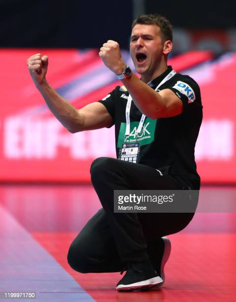 Head coach Christian Prokop of Germany reacts during the Men's EHF EURO 2020 main round group I match between Belarus and Germany at Wiener...