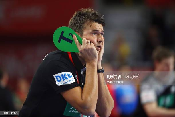 Head coach Christian Prokop of Germany reacts during the Men's Handball European Championship main round group 2 match between Germany and Denmark at...