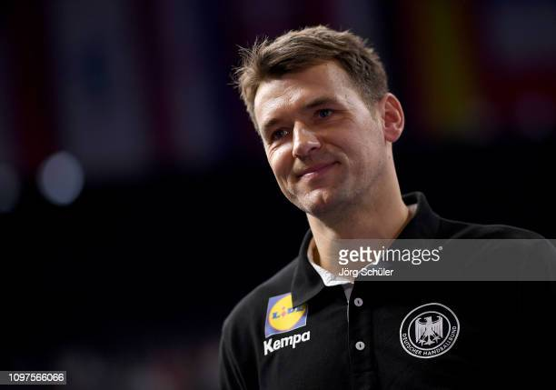 Head coach Christian Prokop of Germany smiles after winning the 26th IHF Men's World Championship group 1 match between Croatia and Germany at...