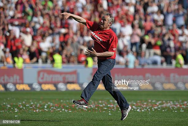 Head coach Christian Streich of Freiburg celebrates after the second Bundesliga match between SC Freiburg and 1 FC Heidenheim at SchwarzwaldStadion...