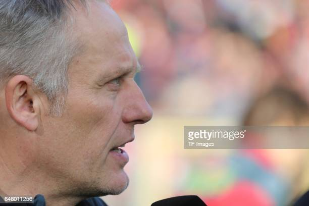 Head coach Christian Streich of Freiburg looks on during the Bundesliga match between Sport Club Freiburg and Borussia Dortmund at...