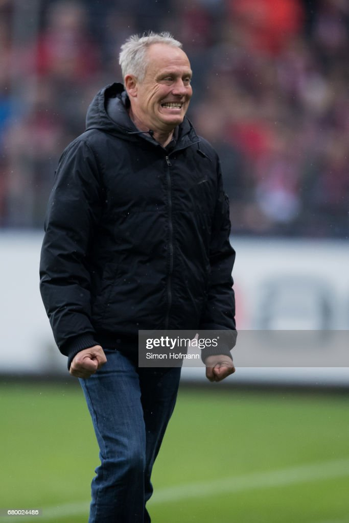 Head coach Christian Streich of Freiburg reacts during the Bundesliga match between SC Freiburg and FC Schalke 04 at Schwarzwald-Stadion on May 7, 2017 in Freiburg im Breisgau, Germany.