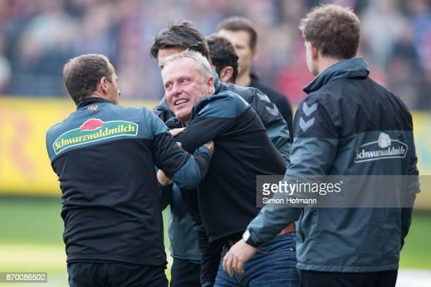 Head coach Christian Streich of Freiburg reacts during the Bundesliga match between SportClub Freiburg and FC Schalke 04 at SchwarzwaldStadion on...