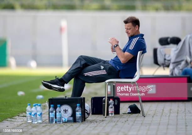 Head coach Christian Woerns of Germany reacts during an international friendly match between the U20 of Germany and the U20 of Norway on September...