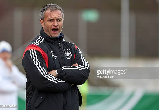 Head coach Christian Wueck of Germany gestures during the U16 international friendly match between Germany and Czech Republic at Weinaustadion on...