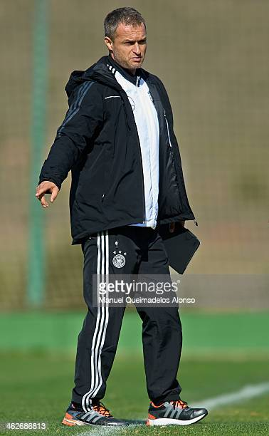 Head coach Christian Wueck of Germany gives instructions during the friendly match between U18 FC Barcelona and U17 Germany at la Manga Club on...