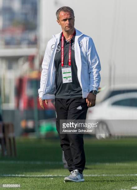 Head coach Christian Wueck of Germany is seen during the UEFA U17 elite round match between Germany and Turkey on March 28 2017 in Manavgat Turkey