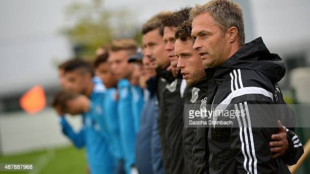 Head coach Christian Wueck of Germany is seen prior to the the U16 international friendly match between Belgium and Germany on September 12 2015 in...