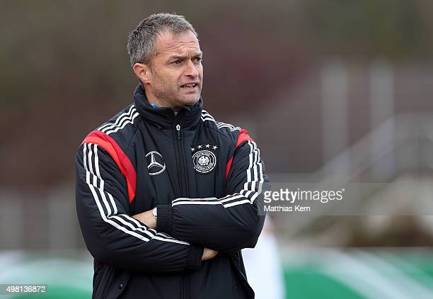Head coach Christian Wueck of Germany looks on during the U16 international friendly match between Germany and Czech Republic at Weinaustadion on...