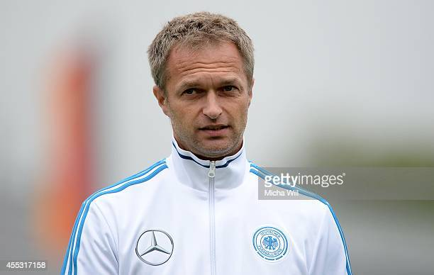 Head coach Christian Wueck of Germany looks on prior to the KOMM MIT tournament match between U17 Germany and U17 Italy on September 12 2014 in...