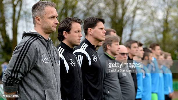 Head coach Christian Wueck of Germany looks on prior to the U16 international friendly match between Germany and Italy at Stadion am Eisenbrand on...