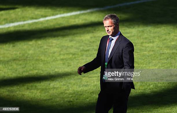 Head coach Christian Wueck of Germany reacts after the FIFA U17 World Cup Chile 2015 Group C match between Australia and Germany at Estadio Nelson...