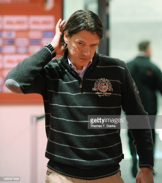 Head coach Christian Ziege of Bielefeld who was dismissed after loosing in Augsburg leaves the stadium after the Second Bundesliga match between FC...
