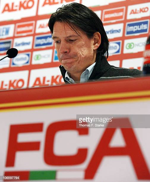 Head coach Christian Ziege of Bielefeld who was dismissed after loosing in Augsburg looks dejected at the press conference after the Second...