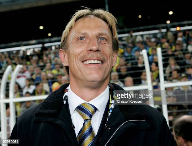 Head coach Christoph Daum of Fenerbahce smiles before the Champions League Group E match between Fenerbahce and Schalke 04 at the Sukru Saracoglu...