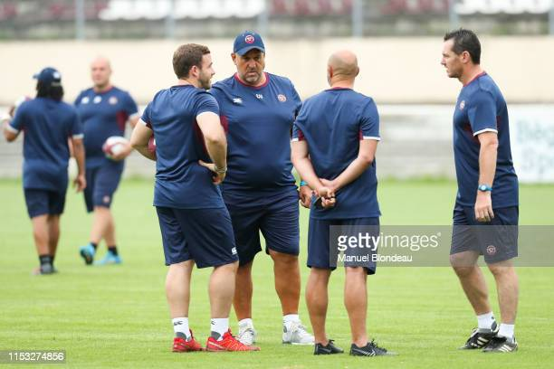 Head coach Christophe Urios and Assistant coach Frederic Charrier and Assistant coach Nicolas Zenoni of Bordeaux and Assistant coach Julien Lairle...
