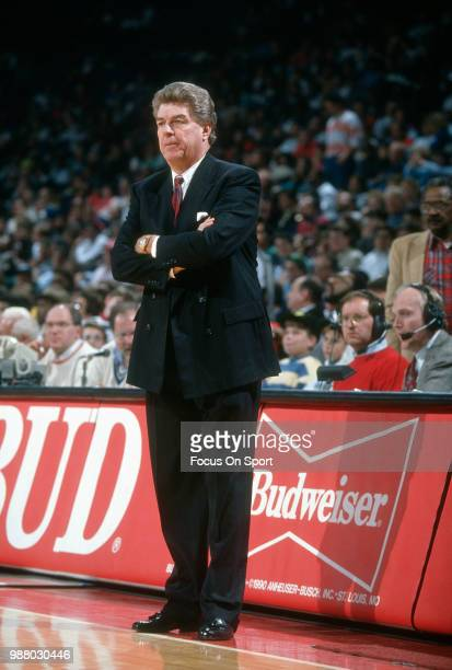 Head coach Chuck Daly of the Detroit Pistons looks on during an NBA basketball game agains the Washington Bullets circa 1991 at the Capital Centre in...