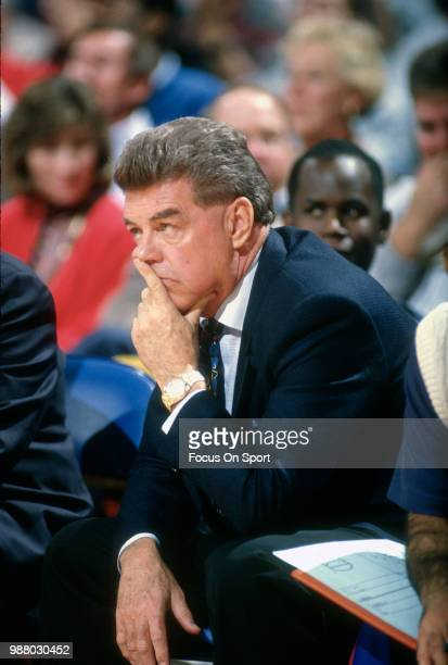 Head coach Chuck Daly of the Detroit Pistons looks on during an NBA basketball game agains the Washington Bullets circa 1990 at the Capital Centre in...