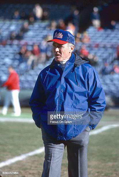 Head Coach Chuck Knox of the Buffalo Bills looks on during pregame warm ups prior to the start of an NFL football game circa 1981 Knox was the head...