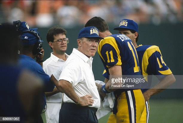 Head Coach Chuck Knox of the Los Angeles Rams looks on from the sidelines during an NFL football game circa 1992 at Anaheim Stadium in Anaheim...