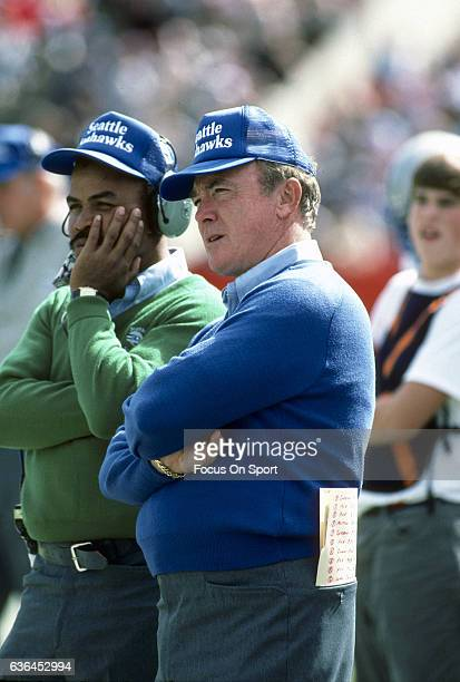 Head Coach Chuck Knox of the Seattle Seahawks looks on from the sidelines during an NFL football game circa 1985 Knox coached the Seahawks from 198391