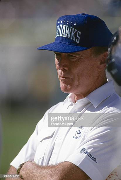 Head Coach Chuck Knox of the Seattle Seahawks looks on from the sidelines during an NFL football game circa 1990 Knox coached the Seahawks from 198391