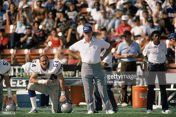 Head coach Chuck Knox of the Seattle Seahawks watches from the sidelines during the 1986 NFL game