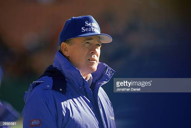 Head coach Chuck Knox of the Seattle Seahawks watches the NFL game against the Kansas City Chiefs at Arrowhead Stadium on November 20 1988 in Kansas...
