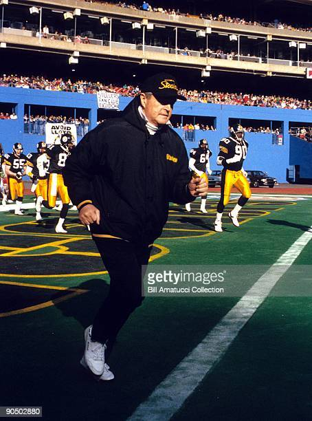 Head Coach Chuck Noll leads the Pittsburgh Steelers onto the field prior to a game on December 22 1991 against the Cleveland Browns at Three Rivers...