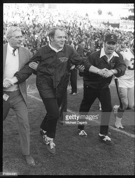 Head coach Chuck Noll of the Pittsburgh Steelers leaves the field following the 1974 AFC Championship Game against the Oakland Raiders at...