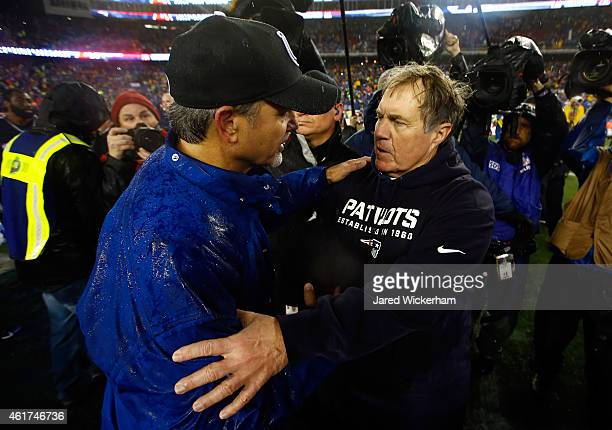 Head coach Chuck Pagano of the Indianapolis Colts and head coach Bill Belichick of the New England Patriots shake hands after the 2015 AFC...