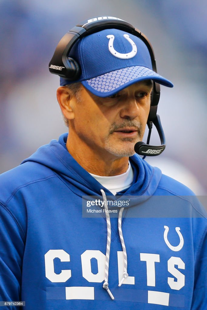 Head coach Chuck Pagano of the Indianapolis Colts looks on against the Tennessee Titans at Lucas Oil Stadium on November 26, 2017 in Indianapolis, Indiana.