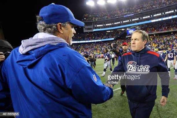 Head coach Chuck Pagano of the Indianapolis Colts shakes hands with head coach Bill Belichick of the New England Patriots after their AFC Divisional...