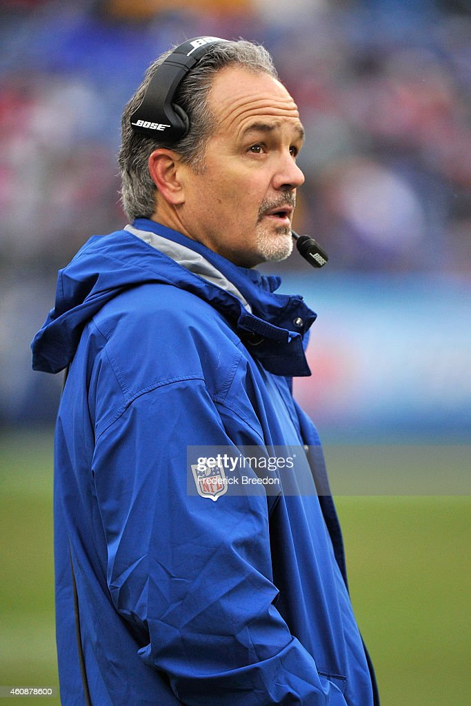 Head coach Chuck Pagano of the Indianapolis Colts watches from the sideline during a game against the Tennessee Titans at LP Field on December 28, 2014 in Nashville, Tennessee.