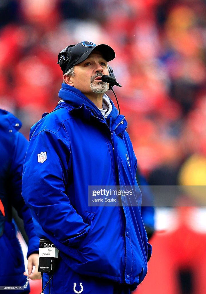 Head coach Chuck Pagano of the Indianapolis Colts watches the scoreboard during the game against the Kansas City Chiefs at Arrowhead Stadium on December 22, 2013 in Kansas City, Missouri.